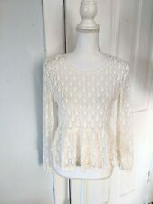Lacey Tear Drop Peplum Hem Ivory Top Women's Small Relaxed Fit Long Sleeve