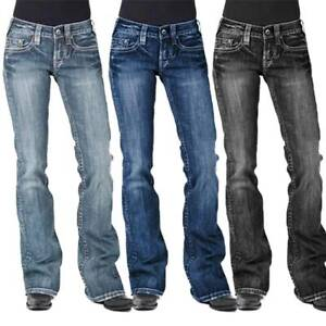 NEW Womens Casual Washed Bootcut Jeans Flared Pants Low Rise Denim Trousers