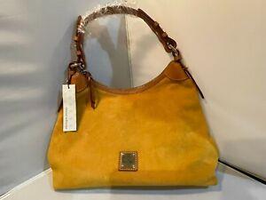 NWT Dooney & Bourke Suede Hobo Shoulder Bag, Mustard Yellow