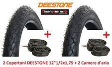 """2 Copertoni DEESTONE 12x1/2x1,75 (47-203) D-818 +2 Camere per Bici 12"""" City Bike"""