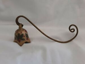 """HOLIDAY VINTAGE BRASS CANDLE SNUFFER, 7.25"""" HOLLY BERRYCHRISTMAS LOVELY"""