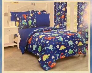 7pc full Comforter Dinosaur colors Jurassic world blue kids boys bedding sheet