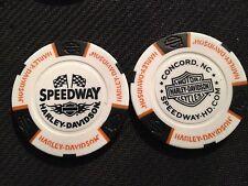 "Harley Davidson Poker Chip (White & Black) ""Speedway"" Concord NC HOME OF NASCAR"