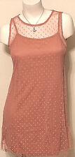 NWT JUNIOR'S WALLFLOWER SLEEVELESS DOT MESH DRESS ROSE SIZE LARGE MSRP $48.00