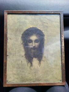 VINTAGE Catholic Print Litho Gabriel Max Jesus Christus Veronica's Veil