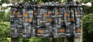 Motorcycle Gray Plaid Classic Cycle RV Camper Boy Man Cave Curtain Valance