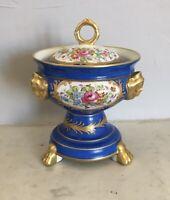 Pot couvert sucrier porcelaine PARIS Sèvres Bleu céleste FLEURS XIXe Limoges...