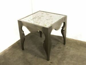 Artistica 125-260 Van Cleef White Brass Square End Table 26x26 Mirror Top