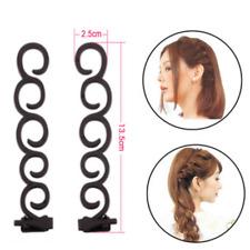 2PCS French Braid Plaiting Twist Hair Styling Tool Braider Roller Hook Bun Maker