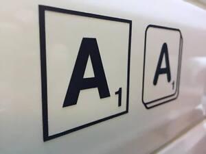 Scrabble tile letter, vinyl wall sticker, self adhesive decal bedroom, car, door
