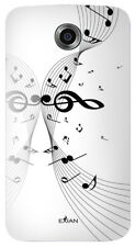 Exian Google Nexus 6 TPU Case Musical Notes on Staff White on White