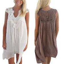No Pattern Casual Chiffon Dress Plus Size for Women