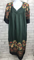 Vintage Cute Green Floral and Paisley Kitschy Caftan Housedress Nightgown 3X