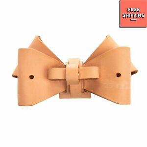 RRP €160 NIELS PEERAER Leather Detachable Bow Button Stud Closure