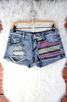 BNWT Womens Size 8,10,12 Vintage Acid Wash Blue Denim Shorts Destruction Patches