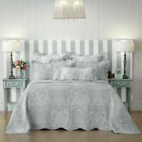 Florence Bedspread Set Grey by Bianca | Features a scalloped edge