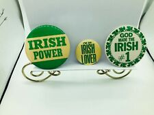 3 Irish Pins Buttons Pin Backs / Irish Power - Lover - # 1 / St Patrick's Day