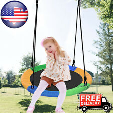 """Giant Tree Swing for Kids 40"""" Large Round Outdoor Saucer Swing Adjustable Ropes"""