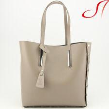 Ital echt Leder Shopper Ledershopper Ledertasche Taupe Damen NEU Bag in Bag