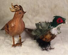 Lot Of 2 Vintage Pheasants - 1 Light Wood And 1 Real Feathers Decor Figures