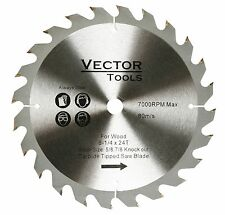 """Carbide Tipped Wood Cutting Saw Blade 8-1/4 -24 Teeth  5/8 Arbor 7/8"""" Knock Out"""