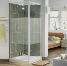 Aqualux Euro Pivot Door Shower Enclosure 800mm x 800mm White Frame Stripe Glass
