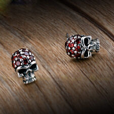 New Mens Jewelry Punk Gothic Skull Garnet Gem 925 Sterling Silver Stud Earrings