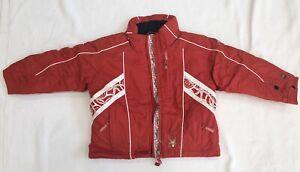 Unisex Kids Bright Red Ski Jacket With White Scroll Trim By Spyder Sz 5 NWOT