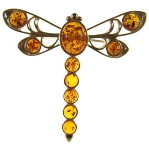 BALTIC AMBER STERLING SILVER 925 DRAGONFLY BROOCH PIN JEWELLERY JEWELRY