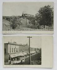 1900's ALBIA Iowa Postcard lot ~ 2 Postcards ~ North Side Square, Railroad Train