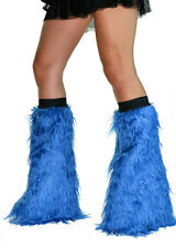 BLUE FUZZY LEGWARMERS RAVE PARTY BOOT COVERS FAUX FUR YETI FLUFFY GOTH TECHNO