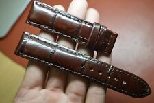 20mm-18mm-dark brown Genuine-ALLIGATOR-CROCODILE-SKIN-WATCH-STRAP-BAND