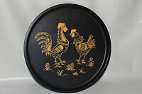 Nice Looking Tin Rooster Plate Wall Decorative Black & Gold Roosters Hen Chicken