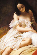 Excellent Oil painting young woman with her pet goat on the bed no framed canvas