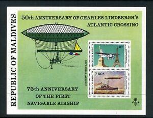 MALDIVES 1977 Lindbergh's flight & Airships MS  SG MS720  MNH  (-20)