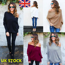 Plus Women Off Shoulder Long Sleeve Knitted Sweater Shirt Jumper Pullover Tops