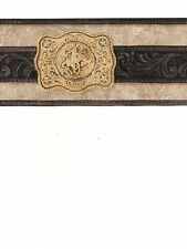 Country Western Gold Buckle on Black Belt on Taupe Wallpaper Border WS6026B