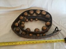 "Antique Set of 21 Graduated Bronze Sleigh Bells on Leather Strap 81"" X 2"""
