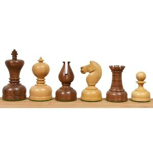 """3.1"""" Library Series Staunton Chess Pieces Only Set - Weighted Boxwood & Acacia"""