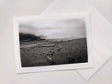 Dreamy Oregon Coast ⛵ Blank Note Card w/ Envelope, B&W Photo Greeting Card 💕