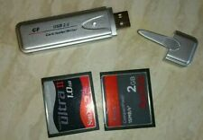 SanDisk Compact Flash Memory Cards And Usb Adapter. 2GB + 1GB