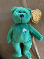 1997 TY Beanie Baby Erin Lucky Shamrock Green Bear Beanbag Plush Toy