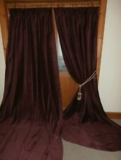 ONE PAIR Claret Red Velvet Curtains 100 Inch / 2.54m DROP Immaculate.BUY IT NOW