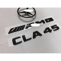 Glossy Black  CLA45+AMG+Star Letters Trunk Emblem Badge Sticker Decal for CLA