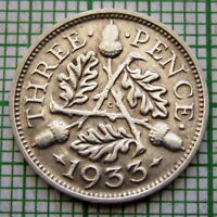 GREAT BRITAIN GEORGE V 1933 THREEPENCE 3 PENCE, SILVER