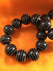 Retro Mod Vintage Jewellery Black White Beads Necklace Rockabilly Pinup Jewelry