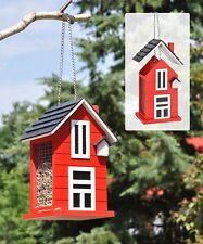 Vogelfutterhaus Holz Vogelhaus Vogel-Futterhaus aus Holz rot mit Aufhängekette