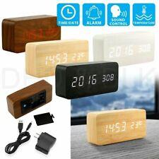 Relog Madera moderna de USB/AAA Digital LED despertador Calendario Termómetro