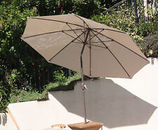 9Ft Round Market Umbrella: Aluminum Natural Color Tilt Pulley Outdoor Patio