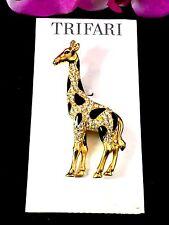 VINTAGE TRIFARI GOLD-TONE CRYSTAL RHINESTONE BLACK ENAMEL SAFARI GIRAFFE BROOCH